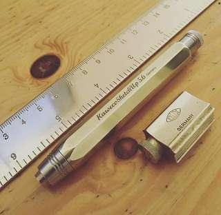 黃銅三件組  德國Dux 純黃銅 三段式 迷你 削筆器 加 德國 Kaweco 黃銅5.6 工程自動鉛筆 加 wander 黃銅尺