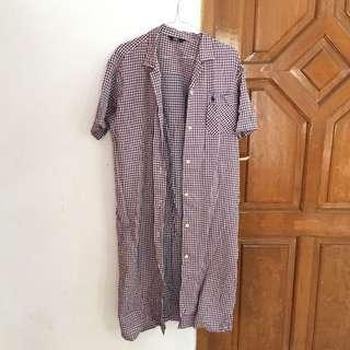 POLO plaid long shirt dress kemeja / outer