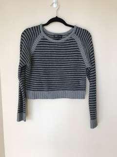 Grey and black knit crop jumper top