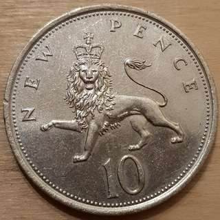 1980 Great Britain Queen Elizabeth II 10 Pence Coin
