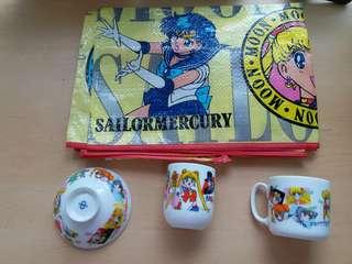 美少女戰士SAILORMERCURY(購自日本)陶瓷杯碗,大沙灘席(收藏已久)清屋