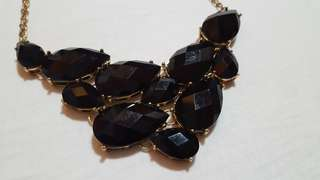F21 black faux jewel statement necklace