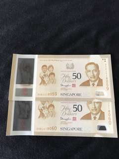 SG50 Commemorative $50 With 2 Run