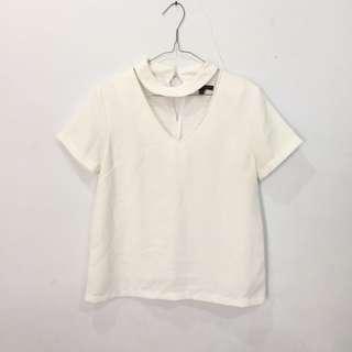 choker white top / blouse