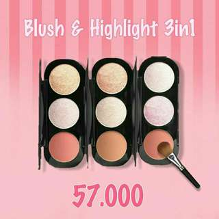 Focallure Blush & Highlighter Pallete 3in1