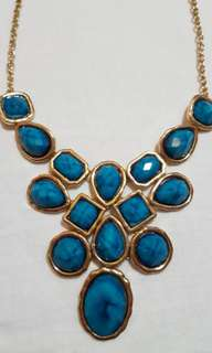 F21 turquoise faux jewel statement necklace