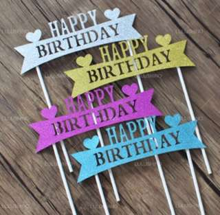 #16 Happy Birthday Cake Topper Bunting Party Decoration Cupcake Decor Toppers