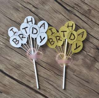 #11 Happy Birthday Balloons Cake Topper Bunting Party Decoration Cupcake Decor Toppers