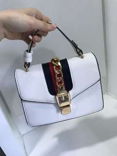 Gucci inspired white sling bag