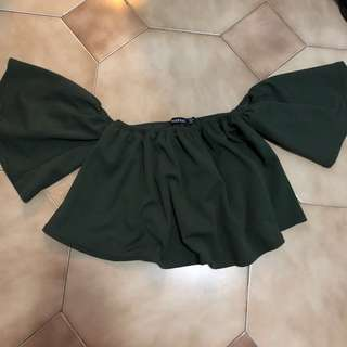 BOOHOO Khaki Green Off Shoulder