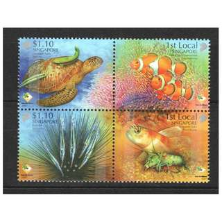 SINGAPORE 2007 SHORES AND REEFS BLOCK OF  4 STAMPS IN MINT MNH UNUSED CONDITION