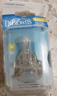 Dr.Brown silicone nipple treat 6m+2pc
