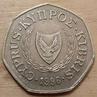 1996 Cyprus 50 Cents Coin