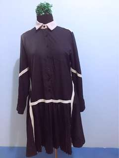 Collared Korean Dress with Pleated Skirt