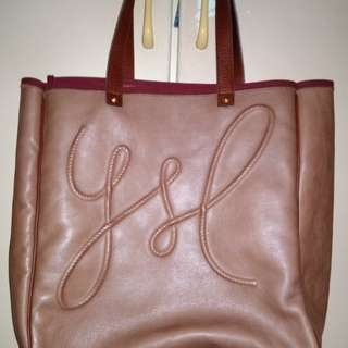 Ysl brown leather tote bag