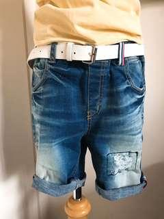 正韓男孩七分刷破牛仔褲