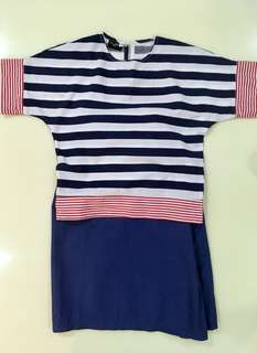 ZAYN & ZAYD CO Navy Stripe Baju Kurung