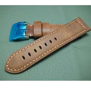 PANERAI 代用 24mm錶帶 (ref:2422啡色 )