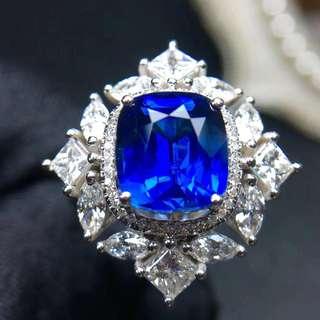18K白金 無燒藍寶石鑽石戒指