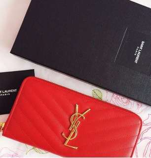YSL Monogram Leather Zip-Around Wallet in Red