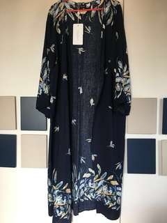 (SALE) Printed Blue Long Cardigan