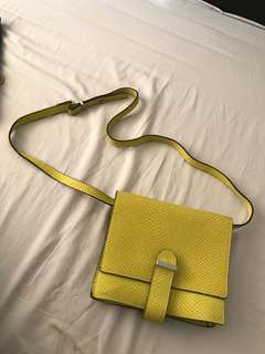 H&M 真皮蛇皮紋手袋 real leather shoulder handbag 可變clutch