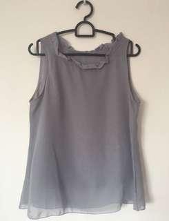 (2 for $10) Grey chiffon top