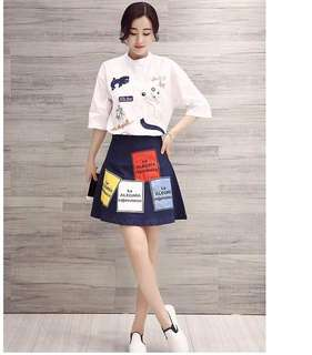 Embroidered Top & Denim Skirt TERNO