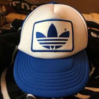 🚚 古著 老品 日本製 adidas originals 電繡LOGO 大LOGO 透氣 壓釦式 可調式 網帽 老帽