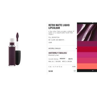 MAC cosmetics liquid lipstick retro matte liquid lip colour