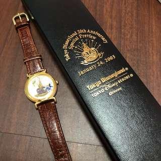 日本迪士尼Tokyo Disneyland 2003年20週年紀念手錶⌚️皮革男女錶 贈香港迪士尼囍蠟燭 米奇米妮