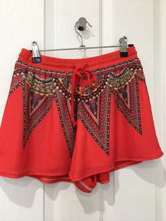Red patterned shorts