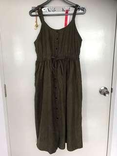Khaki Green long Dress