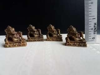Mini bronze ganesha statue 4 pcs set