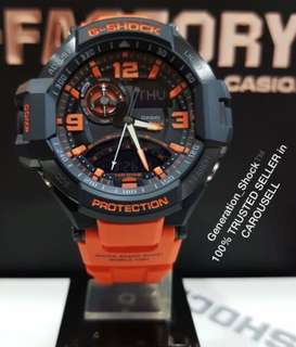 BEST 🌟SELLING CASIO GSHOCK DIVER WATCH : 1-YEAR OFFICIAL WARRANTY in 100% ORIGINAL G-SHOCK RESISTANT ORANGE GRAVITY-MASTER WATCH SKY AVIATOR in ABSOLUTELY TOUGHNESS  in Orange STEALTH MATT Best Gift For Most Rough Users & Unisex : GA-1000-4ADR / GA1000