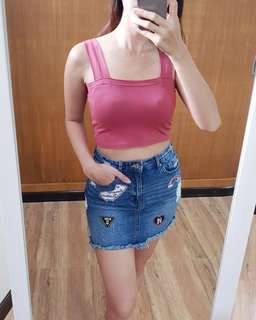 NEW IN! BANDEAU TOP & RIPPED DENIM SKIRT W/ PATCHES