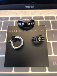 Authentic real Marc by Marc Jacobs earring and ring set