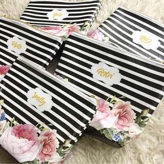 🚚 CUSTOM COSMETIC POUCH black stripes pink flower floral