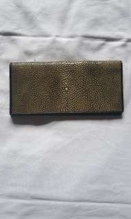 Women leather wallet purse - Genuine stingray leather