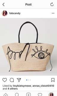 H&M woven rattan beach bag
