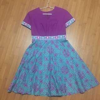 (Preloved) Batik Dress Baby Doll Jahit