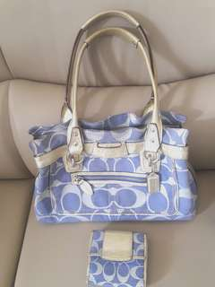 Original Coach Penelope Signature Denim Blue/ Gold Bag with FREE Wallet