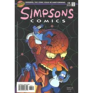 Simpsons Comics #38 (August 1998) - Dullards To Donuts: Mr Burns brings in cheaper donuts for the working crew, but unfortunately they're addictive too! Will everyone become fat or in Homer's case, fatter?