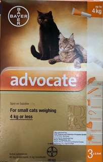 Advocate for cats 4kg less