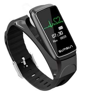 【二合一】智能手錶 + 藍牙耳機 聽音樂 接打電話 心率監測 運動計步 smart watch talk band music player heart rate