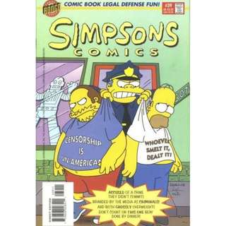 Simpsons Comics #39 (October 1998) - Sense and Censorability: Homer is arrested because he had some obscene comics books and Comic Book Guy is arrested too, for selling them. Will their plea of ignorance work?