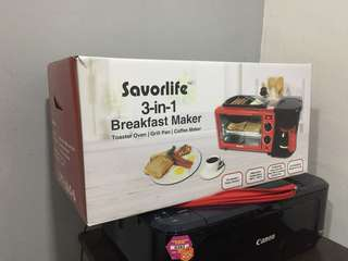 3-in-1 Breakfast Maker (Toaster Oven+Grill+Coffee Maker)