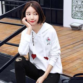 Insta Hit: Flamingo Pullover with Heart Motif Hoodie Straps