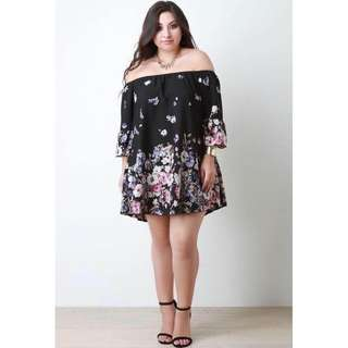 Plus Size Black Offshoulder Dress - COD