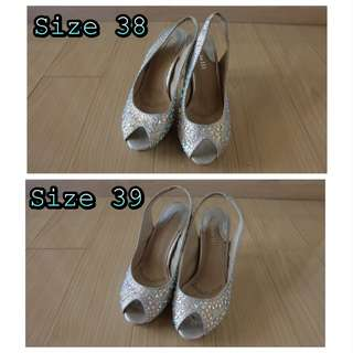 Preloved heels bling2 rotelli silver (avail size 38 & 39)